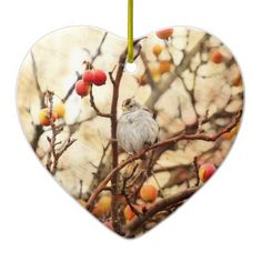 SOLD! Sparrow in a Crab Apple Tree Christmas Tree Ornament by FunNaturePhotography. #sparrows #ornaments #SmallBirds http://www.zazzle.com/funnaturephotography*