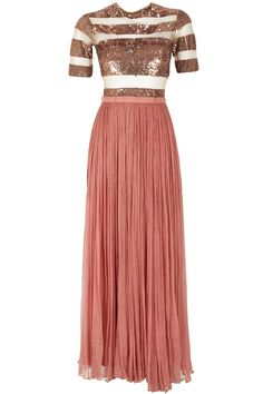 Rose gold sequin sheer panel long dress available only at Pernia's Pop-Up Shop.
