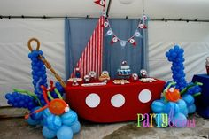 This collection of sailor party ideas by party designers is incredibly creative. All you'll need for sailor birthday party inspiration you'll find here. Sailor Birthday, Sailor Party, Boy Birthday, Birthday Ideas, Sailor Theme, Baseball Birthday, Third Birthday, Nautical Mickey, Nautical Party