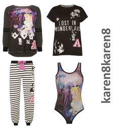 Alice in Wonderland Pyjamas  T Shirt Bodysuit Lounge Pant Long Sleeve T Shirt