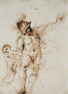 Guercino (Italian; 1591–1666)The Enraged Mars Restrained by Cupid1640sPen and brown ink with accents of iron gall ink