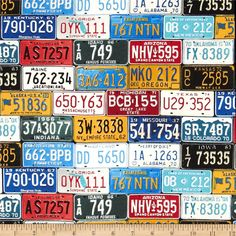 Timeless Treasures License Plates Multi from @fabricdotcom  Designed for Timeless Treasures, this cotton print fabric is perfect for quilting, apparel and home decor accents. Colors include red, yellow, blue, aqua, black and white.