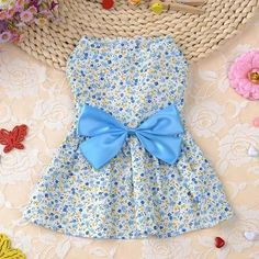 Cute Dog Dress Summer Soft Cotton Printing Bow Pet Puppy Clothes #PuppyClothes