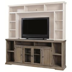 Aspenhome Canyon Creek 84 Inch TV Console With 4 Doors And Open Shelf  Storage