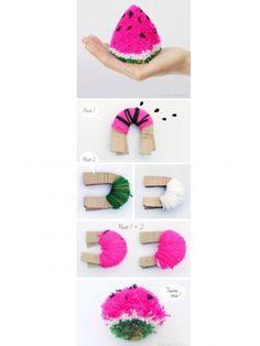 cómo hacer una sandía con pompones