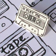 Play Me Cassette brooch, by Adam Regester via Folksy, £4.95
