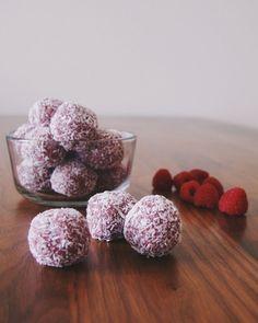 Raspberry coconut paleo bliss balls   The Lazy Paleo
