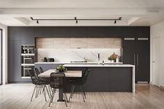 The 50 BEST BLACK KITCHENS - kitchen trends you need to see. It is no secret, in the design world, that dark kitchens are all the rage right now! Black kitchens have been popping up left and right and we are all for it, well I am anyways! Kitchen Trends, Kitchen Room, Kitchen Remodel, Contemporary Kitchen, New Kitchen, Home Kitchens, Modern Kitchen Design, Kitchen Style, Kitchen Design