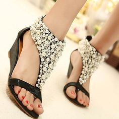 621c2b674d2bc Buy 2016 Summer open toe Rhinestone zipper pearl beaded wedges sandals  women shoes high heel studded at Wish - Shopping Made Fun