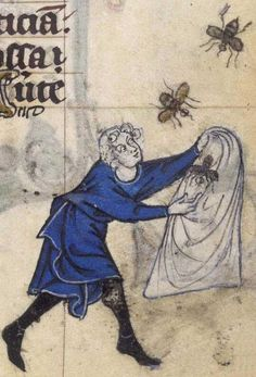 A man catching bees in a bag.  British Library, Stowe MS 17, Folio 148r  (how crazy was that?)