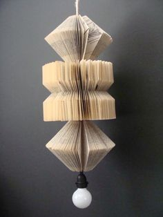 Hanging Pendant Lamp with Vintage Books, , via Etsy.