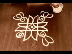 Lotus rangoli designs with 4 dots || easy thamarai kolam for margaazhi r...