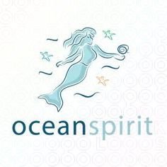 Beautyful Mermaid Logo Design holding a shell in her hand swimming in the water For Sale On StockLogos | Ocean Spirit logo