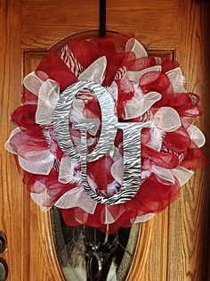 Beautiful University of Oklahoma OU Sooners Crimson and White Mesh Wreath with Zebra Print Ribbon and Letters