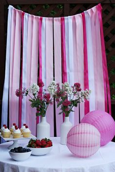 DIY ombre ribbon backdrop