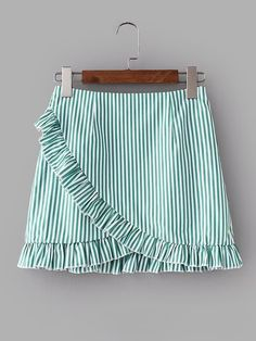 Young Cute and Casual A Line Striped Shift Mid Waist Green Above Knee/Short Length Vertical-Striped Ruffle Trim Overlap Skirt Mode Pastel, Vertical Stripes, Ruffle Trim, Ruffle Skirt, Short Skirts, Summer Outfits, Fashion Dresses, Girls Dresses, Rock