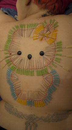 Acupuncture Hello Kitty Design with various colored needles for full effect. Needles Play, Corset Piercings, Unique Body Piercings, Back Art, Body Modifications, Pretty Cats, Body Mods, Acupuncture, Cringe