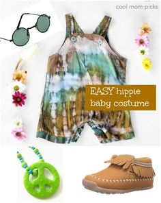 Easy Hippie Baby Halloween costume with clothes you can use again!