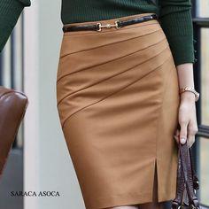 Nuevo estilo negro camel color sólido falda del busto de carrera delgada de la cadera de las mujeres medio cintura grande sizexxl faldas lápiz