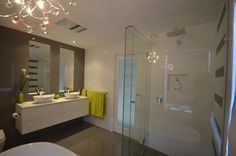 Beautiful Double Bowel Vanity and Frameless Shower Frameless Shower, Bathroom Inspiration, Bathrooms, Vanity, Mirror, Furniture, Beautiful, Home Decor, Toilets