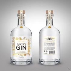 This is my winning design for Pier View Gin. The aim was to create a clean minimalistic label that looks quite fresh and luxurious. O Gin, Gins Of The World, Gin Distillery, Gin Brands, Label Design, Packaging Design, Graphic Design, Gin Bottles, Beverage Packaging