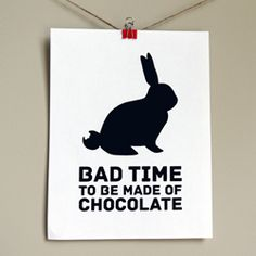 Download these free printable Chocolate Bunny Silhouette posters today - quirky decor for Easter, don't you think?