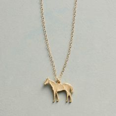FLICKA NECKLACE -- Sculpted by Victoria Cunningham, her horse charm winks with a diamond eye. Necklace handmade in USA of gold; Horse Necklace, Gold Necklace, Eye Necklace, Handmade Necklaces, Handmade Jewelry, Diamond Eyes, Pretty Horses, Artisan Jewelry, Sculpting