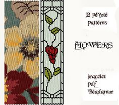 2 Peyote Patterns for bracelet: Flowers and Stained por Beadamor