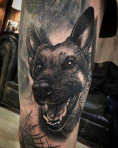Dog tattoo on claves Tattoos For Dog Lovers, Dog Tattoos, Body Art Tattoos, Tattoo Ink, Portrait Tattoo Sleeve, Portrait Tattoos, Sleeve Tattoos, German Shepherd Tattoo, Dog Memorial Tattoos