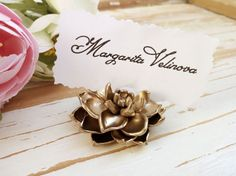 gold succulent wedding place card table decor flower holder silver name tag holder escort card holder wedding table stand place seating