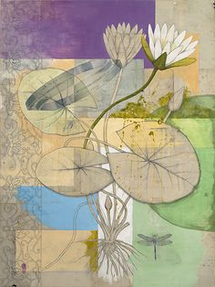 Michael Mew,     LOTUS, 2006  paint, mixed media, collage on panel, 60 x 45 inches