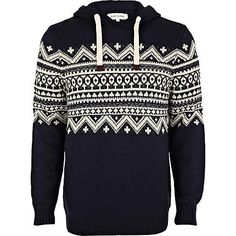 Layer up as the colder months approach in this navy blue fair isle panel hooded jumper #riverisland #christmascracker