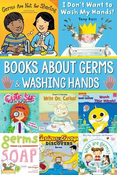 Books About Germs and Washing Hands. The best books about germs and hand washing to read aloud to your Pre-K and Kindergarten kids. Book list for teaching health and hygiene. Pre K Pages, Kids Learning Activities, Early Education, Baby Shark, Read Aloud, Hand Washing, Book Lists, Good Books, Literacy