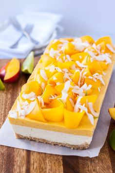 This Mango Panna Cotta Coconut Cheesecake is 3 dreamy layers of tropical dessert. Creamy Mango Panna Cotta and creamy nobake cheesecake of coconut and lime . Tropical Desserts, Mango Dessert Recipes, Easy Summer Desserts, Make Ahead Desserts, Mango Recipes, Just Desserts, Sweet Recipes, Delicious Desserts, Juicer Recipes