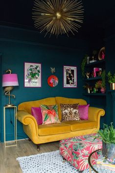 Home Interior Boho Before & After: Amelias Victorian Terrace Colourful & Maximalist Living Room.Home Interior Boho Before & After: Amelias Victorian Terrace Colourful & Maximalist Living Room Living Room Sofa, Home Living Room, Living Room Designs, Living Spaces, Colourful Living Room, Quirky Living Room Ideas, Colourful Home, Dark Teal Living Room, Mustard Living Rooms