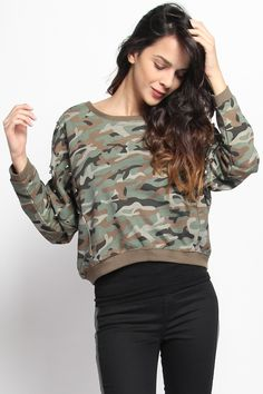 Sale Online Camo Print Sudded Dolman Sweatshirt Top - $42.00