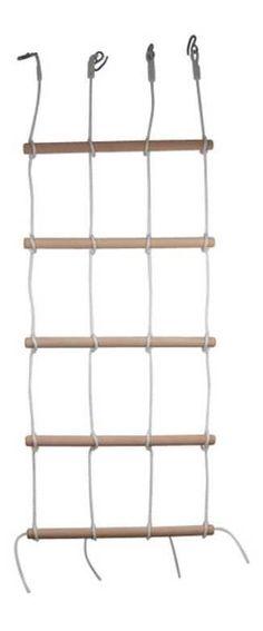 Tato stěna je výzvou pro maléhorolezce! 4 silná lana s 5 dřevěnými tyčemi 4 x 68 cm. Tuto lezeckou stěnu můžetetaké použit jako