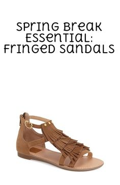 Polished studs and suede fringe heighten the vintage charm of a lively casual sandal. Pair them with jeans or a dress for a fun spring break look.