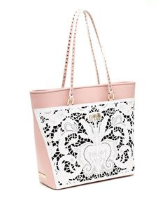 Pink & White Bella Leather Shopper