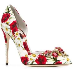 Dolce & Gabbana embellished floral pumps ($1,210) ❤ liked on Polyvore featuring shoes, pumps, floral print pumps, pointy-toe pumps, stilettos shoes, cut out pumps and pointy toe stilettos