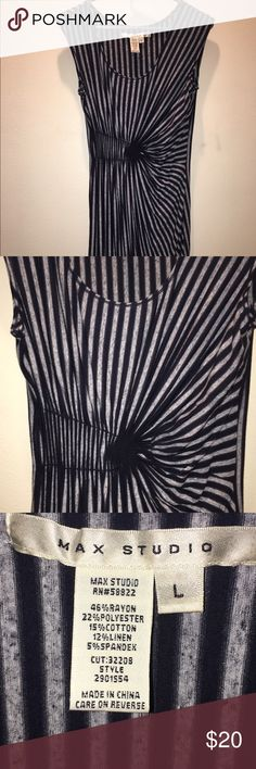 Striped dress with accent at waist Very soft and stretchy! Flattering on all body types. Falls at about knee length. Max Studio Dresses