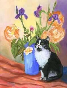 tuxedo cats in paintings | TUXEDO CAT - by Mary Jo Zorad from Gallery