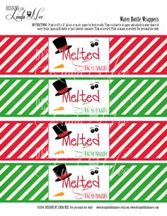Melted Snowman Water Bottle Wrappers! Go custom and be the hostess with the mostest! These wrappers are a fun and inexpensive treat for your childs class, neighbors, friends or family! They also make great party favors! ____________ Please see my additional printables including gift tags, Hershey Bar wrappers, mini candy bar wrappers, cupcake toppers and more for a complete PARTY PACKAGE! DIRECTIONS: (1) Print the wrappers on cardstock or a thicker paper (I prefer photo paper or matte pa...
