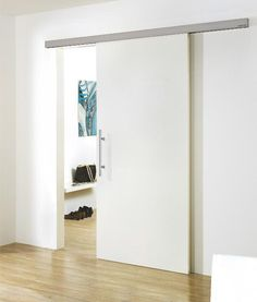 Comfortable Chic And Creative Interior Sliding Door Design Ideas With Hardwood Flooring And White Walls Also Painted White Sliding Door