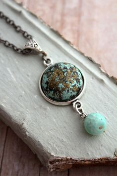 Blue Green Earth Necklace Granny Chic Bit of Bling by @belmonili