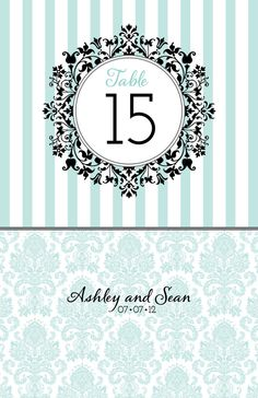 Damask Tiffany Blue Table Numbers