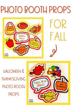 Are you looking for a fun way to celebrate Halloween and Thanksgiving in your classroom? These fall photo booth props are the perfect classroom party idea to make lasting memories. Use these printable photo booth props during your classroom parties and then have the kids make picture frames. These affordable, easy to make photo booth props for Halloween and Thanksgiving will be a hit at your next party.