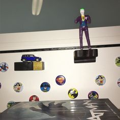 Hey!!! #shelflifeshop got its foot in the door at #dccomics ! 2 is a start. These are magnetic and stick to the #cubicle wall.  #shelflifeshop #dc #dcuniverse #batman #superheroes #superman #hotwheels #miniclubman #mini #toycrewbuddies #toyshelf #interior4all #interiordesign #interior125 #interior123 #handmade #california #officedecor #walldecor #cubiclelife #cubicledecor