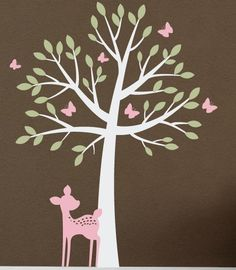 Tree with butterflies and fawn Wall Decal by tweetheartwallart, $74.00
