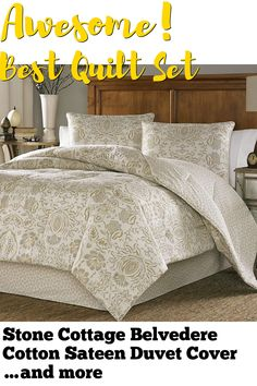 Stone Cottage Belvedere Cotton Sateen Duvet Cover Set, King, Beige ... (This is an affiliate link) #quiltsets